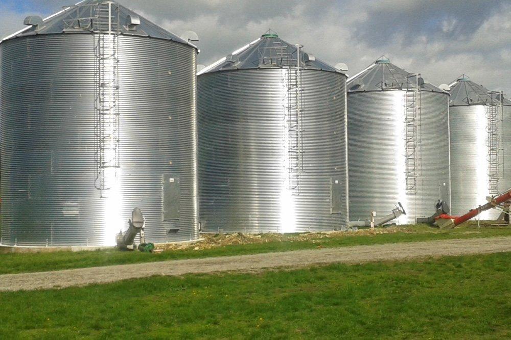 Row of Agribin Grain Silos